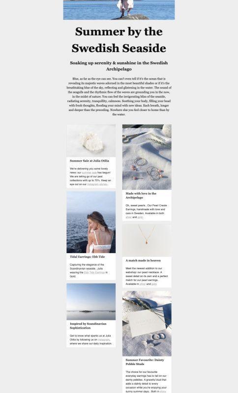 newsletter examples Julia Otilia conscious jewellery Swedish summer Jenny tam thai